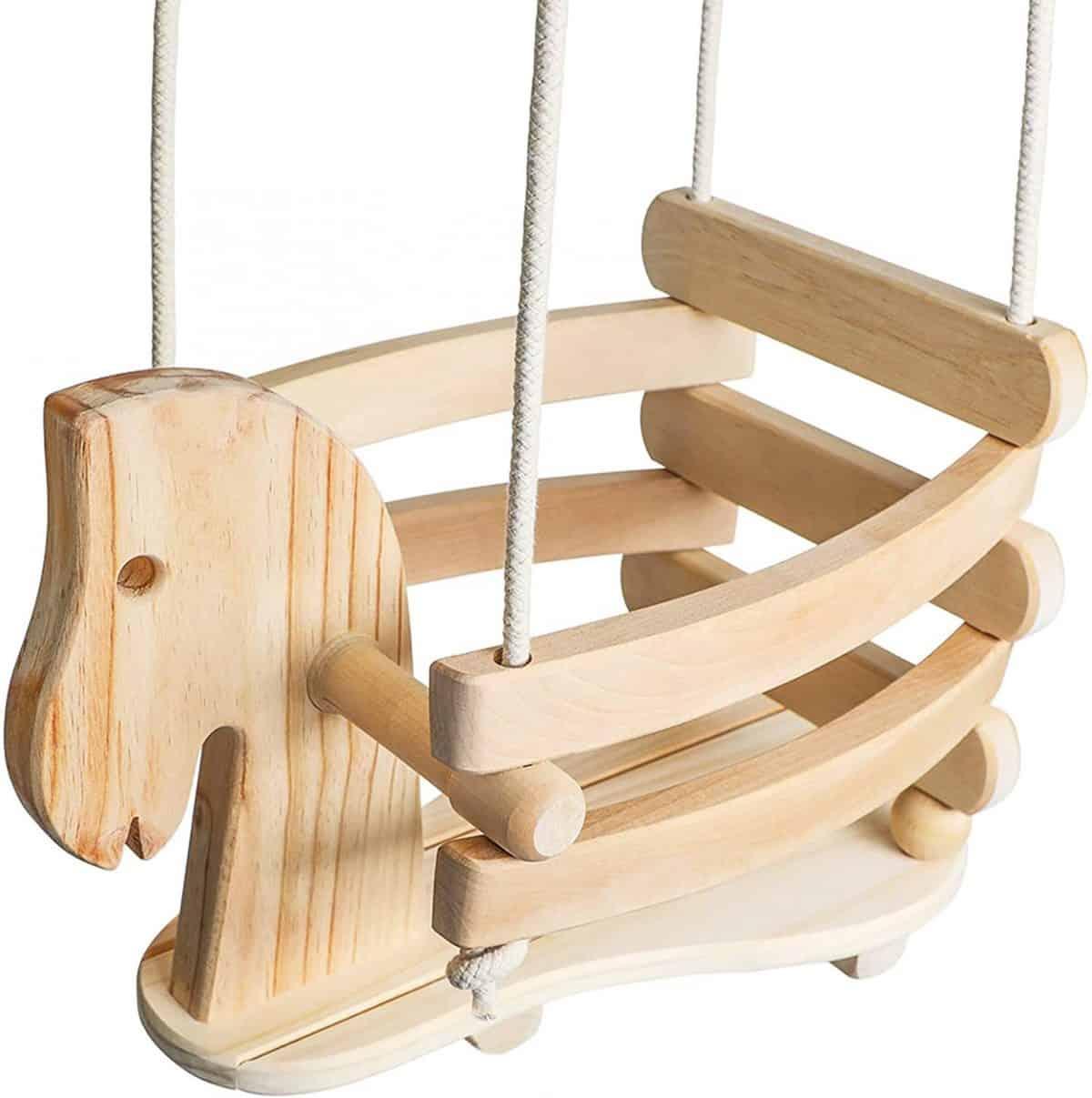 wooden kids swing